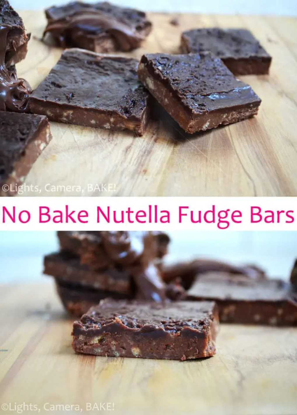 No Bake Nutella Fudge Bars. Simple no bake treat that tastes like you're eating a candy bar! A definite favourite of mine and soon to be yours! #nutellafudge #nobakenutellabars #nutellabars