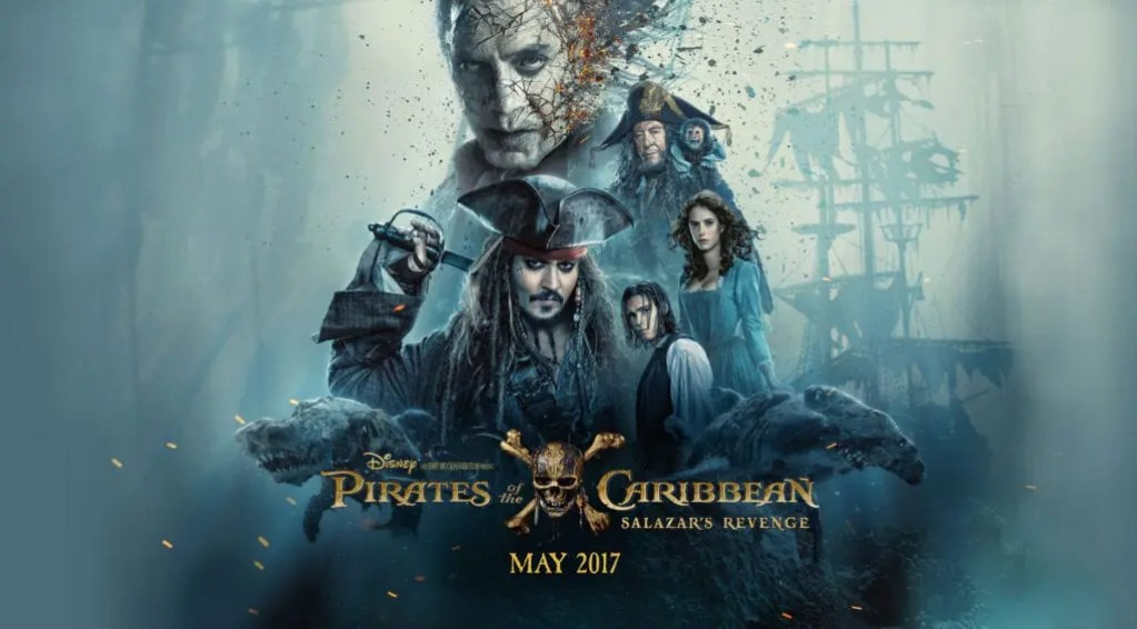 Pirates of The Caribbean: Dead Men Tell No Tales movie poster for the film talk on Lights Camera BAKE!. Click the link to chat about the movie and read the movie review. #piratesofthecaribbean #johnnydepp