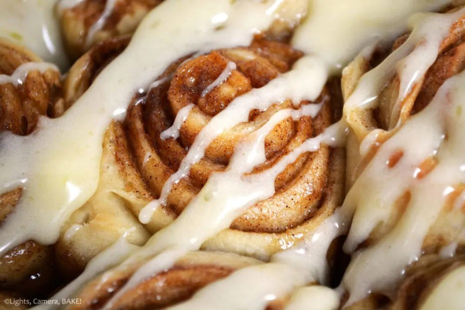 The best, easy Cinnamon Rolls ever! These are ready in less than 3 hours are soft, spongy, filled with cinnamon, brown sugar and butter and topped with a cream cheese icing drizzle! Better than Cinnabun!