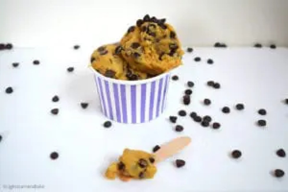 Homemade Cookie dough is a SAFE to eat chocolate chip cookie dough, requires only six ingredients and can be whipped up and served in cute ice cream cups!
