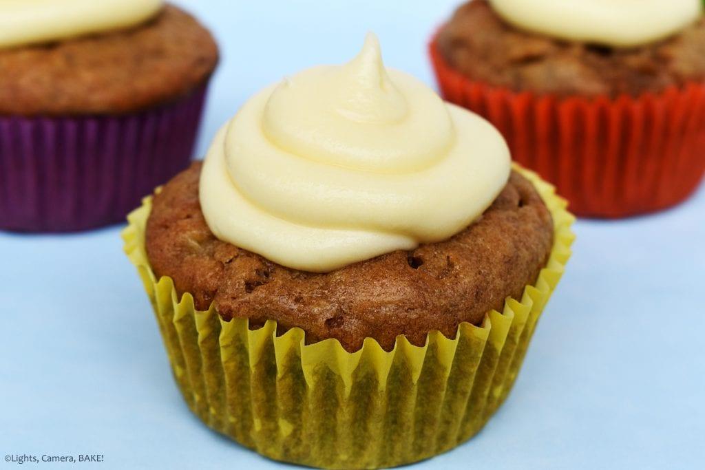 Raspberry Banana Cake Cupcakes with Cream Cheese Icing