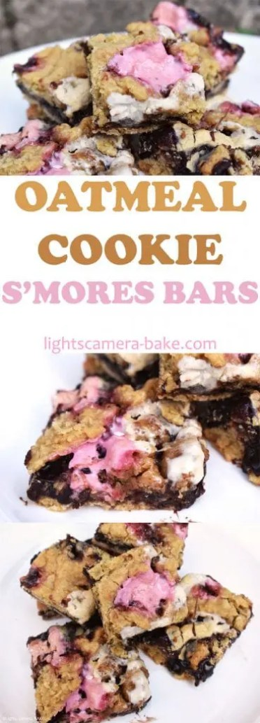 Ultra chewy and gooey Oatmeal Cookie S'mores Bars. We have chocolate chip oatmeal cookie bars on the base and top that are filled with a chocolate fudge and plenty of sweet and melting marshmallows for the ultimate campfire treat. #smores #smorescookiebars #smorescookies #oatmealcookies #oatmealsmorescookiebars #oatmealsmorescookies