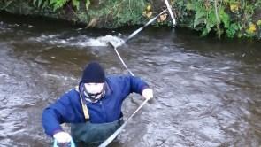 Scientist taking flow measurements