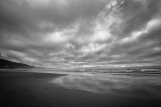 Early autumn clouds stretch over the beach at Beverly Beach State Park near Newport, Oregon.