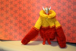 Rollneck red and yellow sweater