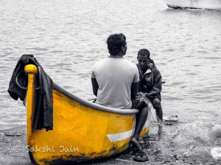Fishermen in the yellow boat
