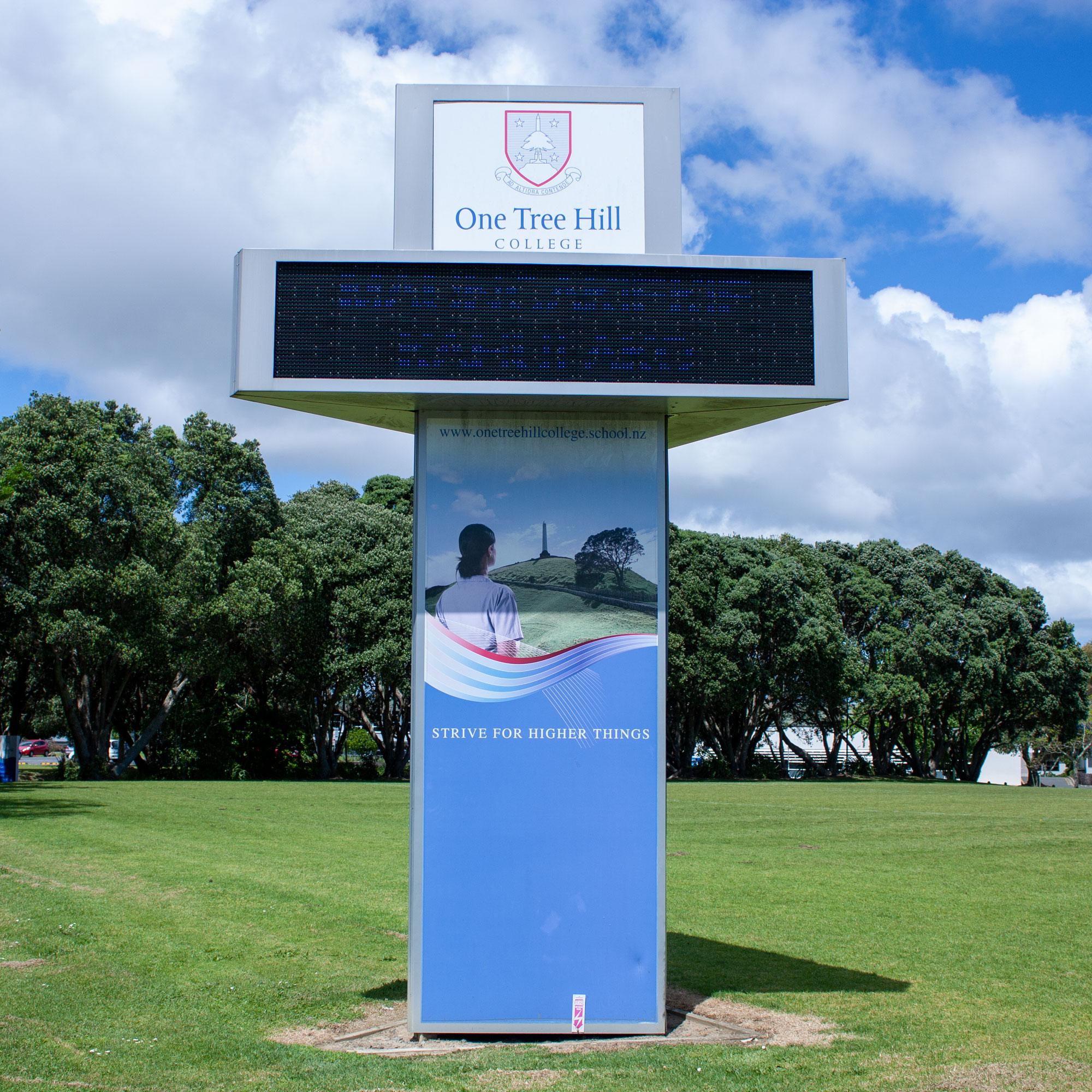Column Sign with Digital Display