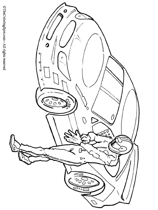 Race Driver Coloring Page Audio Stories For Kids Free