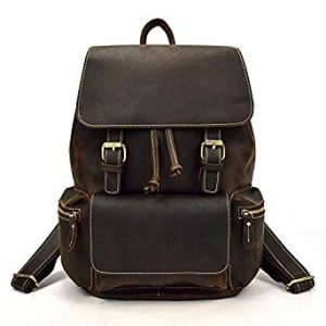 Luufan Men's Full Grain Italian Leather Backpack