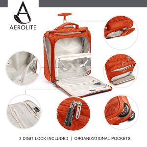 "Aerolite 16.5"" Underseat Women Luggage Carry On Suitcase - Small Rolling Tote Bag with Wheels"