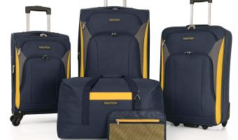 Nautica Open Seas 5 Piece Luggage Sets for families, Navy yellow