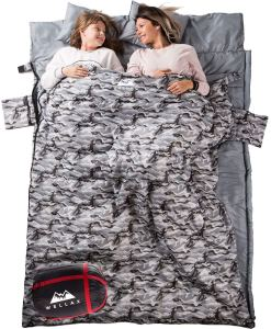 WELLAX Double Sleeping Bag for Camping, Backpacking or Hiking -Perfect Sleeping Sack for Couples