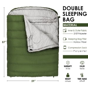 Winner Double Sleeping Bag with Compression Sack,Mummy Hood with Zipper It's Portable and Lightweight for 3-4 Season Camping, Hiking, Traveling, Backpacking and Outdoor Activities