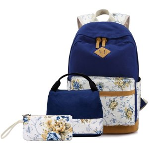 Abshoo Lightweight Canvas Cute Girls Bookbags for School Teen Girls Backpacks With Lunch Bag (Floral Navy)