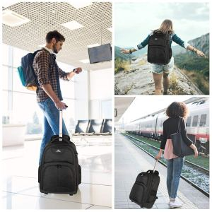 Rolling Backpack, Matein Waterproof College Wheeled Laptop Backpack for Travel, Carryon Trolley Luggage Suitcase Compact Business Bag School Student Computer Bag for Men fit 15.6 Inch Notebook,Black