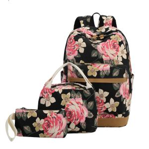 School Backpack Girls Teens Bookbags Set 15 inches Laptop Bag Kids Lunch Tote Bag Clutch Purse (Big Floral - Black) - best backpacks for high school girl