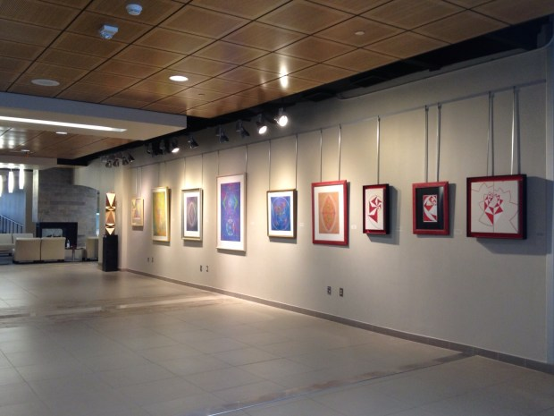 Art in the main hall of the Rudolph Jones Student Center