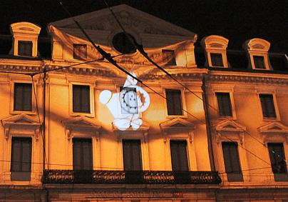 Les anooki agitent la gare Saint Paul, Inook, Lyon, Fête des Lumières 2012, photo : Vincent Laganier