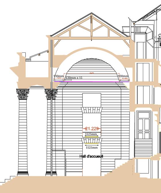 Coupe longitudinale avec implantation lumière, théâtre Graslin, Nantes, France - Illustration : Virginie Voué, Luminescence