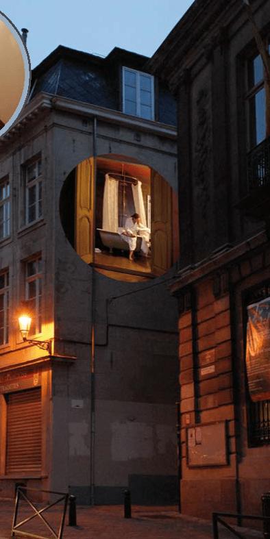 Au détour d'une rue, A travers les murs, quartier Saint-Jacques, Bruxelles, Belgique © Radiance 35, Zimmerfrei