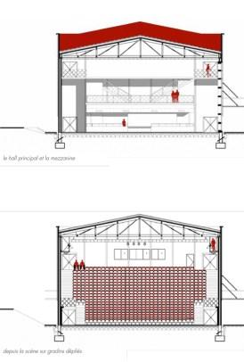 Coupes transversales, Théâtre Jean-Claude-Carrière, Montpellier, France - Architecte © A+Architecture