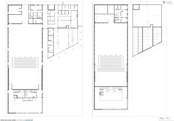 Plans du rez-de-chaussée et étage, Théâtre Jean-Claude-Carrière, Montpellier, France - Architecte © A+Architecture