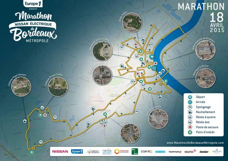 Carte du Marathon Nocturne de Bordeaux Métropole