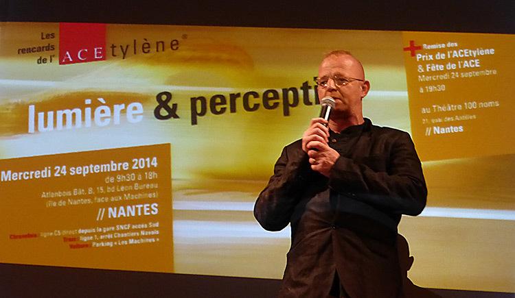 Pascal Gougeon, maitre de la ceremonie de remise des Prix de ACEtylene 2014, Nantes - Photo Vincent Laganier