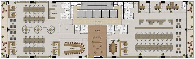 Plan typique d'un plateau de bureau © PureLiFi
