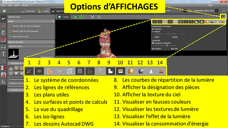 DIALux evo 4 - option affichages - en francais - Vincent Laganier
