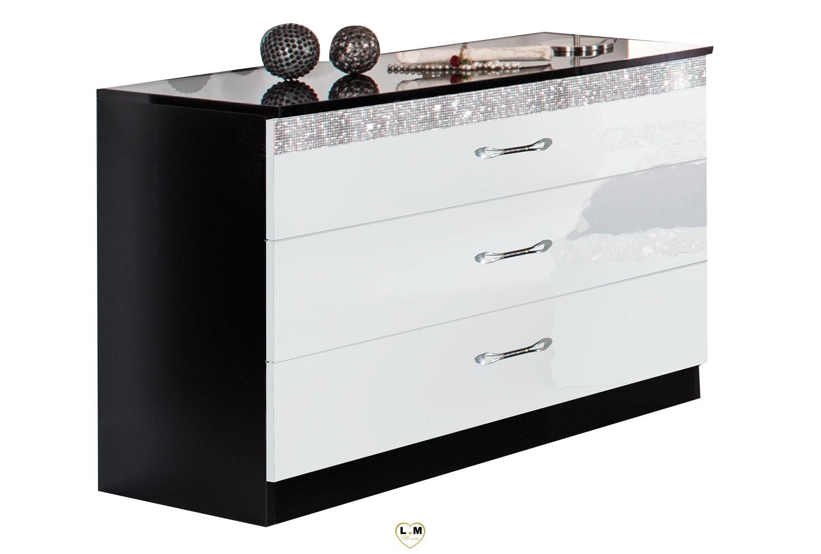 glamour laque noir et blanc chambre a