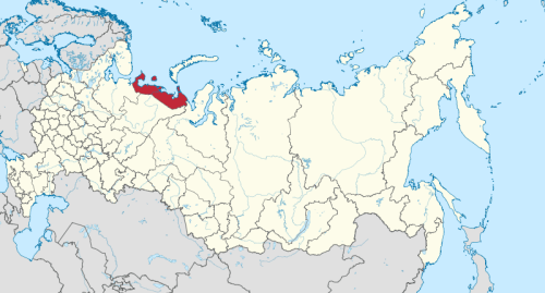 Nenetsian autonominen piirikunta Venäjän liittovaltion kartalla.