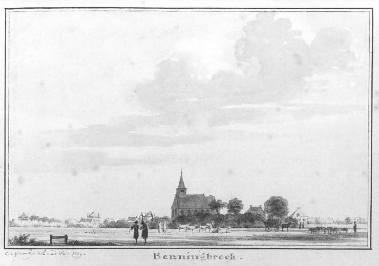 Cornelis Pronk tekende in 1729 het kerkje in Benningbroek