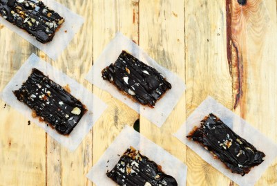 Vegan chococlate date caramel slices