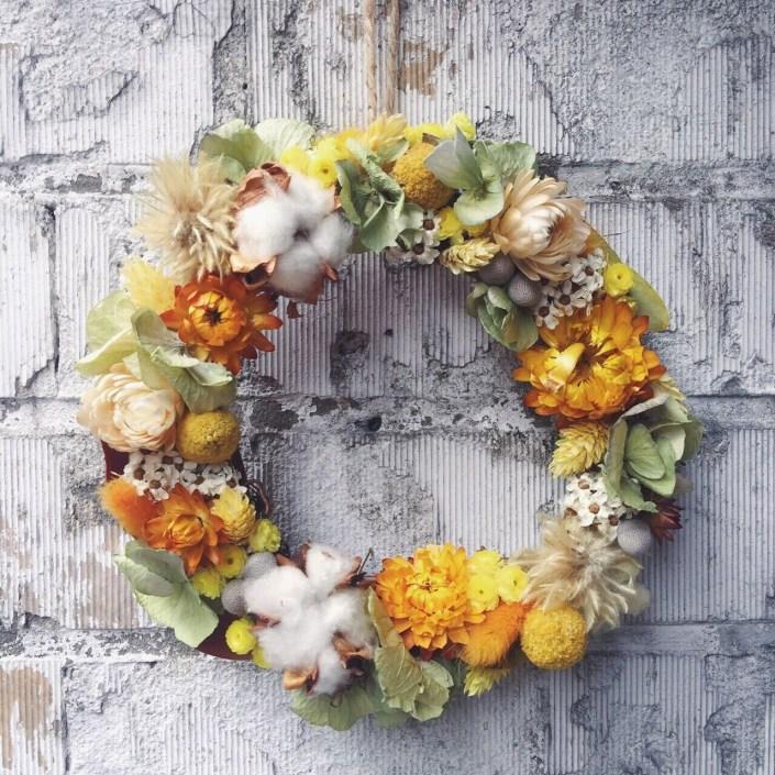 黃色乾燥花花圈,喜歡生活乾燥花花圈,乾燥花花圈推薦