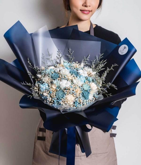 巨大乾燥花束,求婚花束推薦台北-深藍色