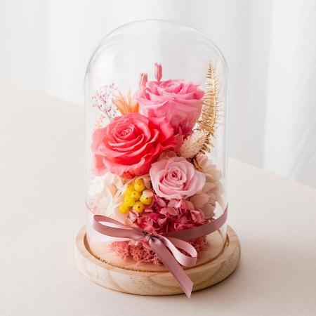 永生花玻璃盅罩-永生花大型粉色封面