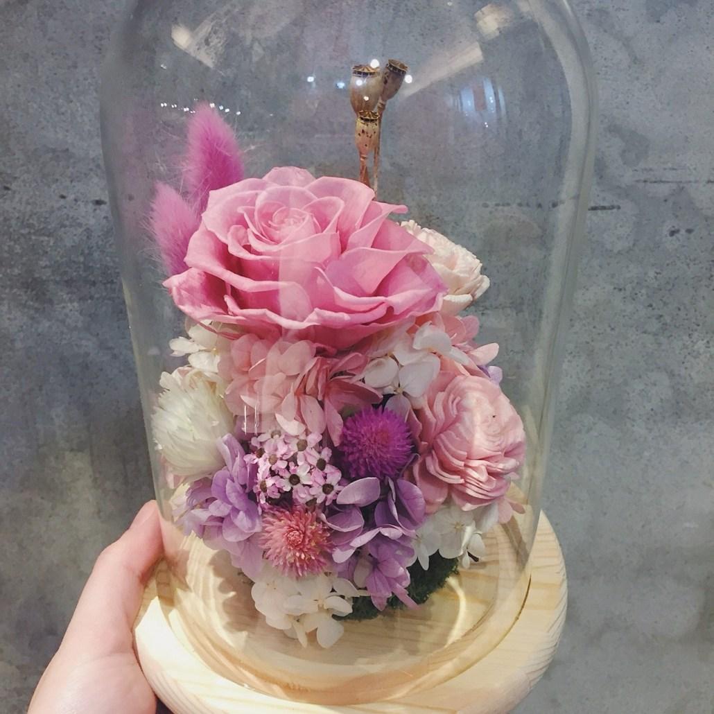 永生玫瑰花玻璃罩-粉色永生玫瑰花,喜歡生活乾燥花店