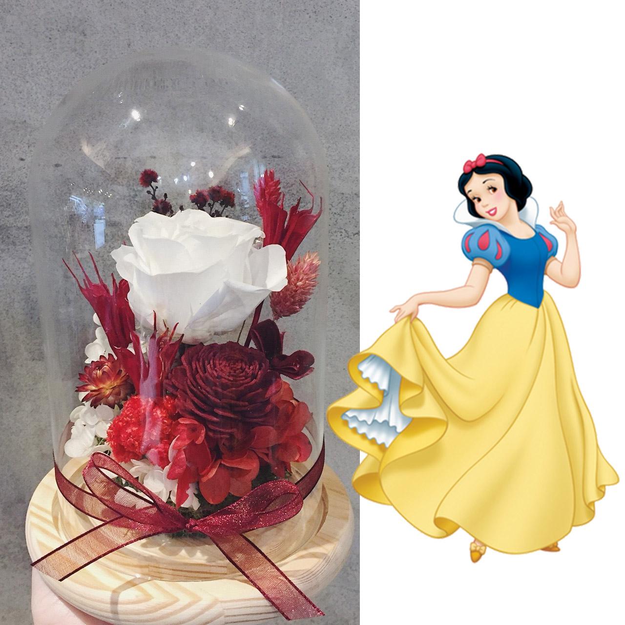 白色永生玫瑰花玻璃罩