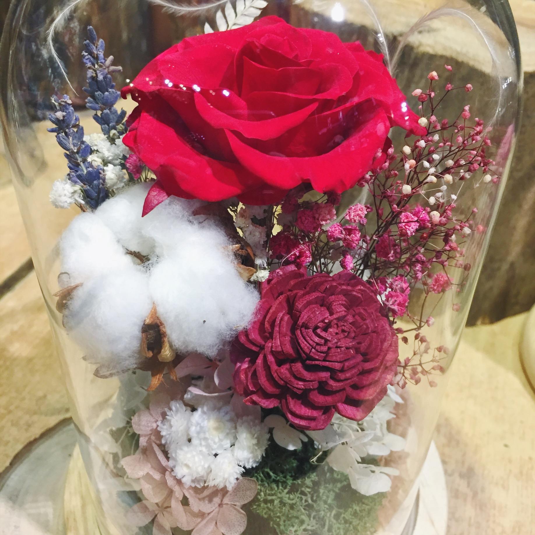 深紅色永生花盅罩,喜歡生活乾燥花店