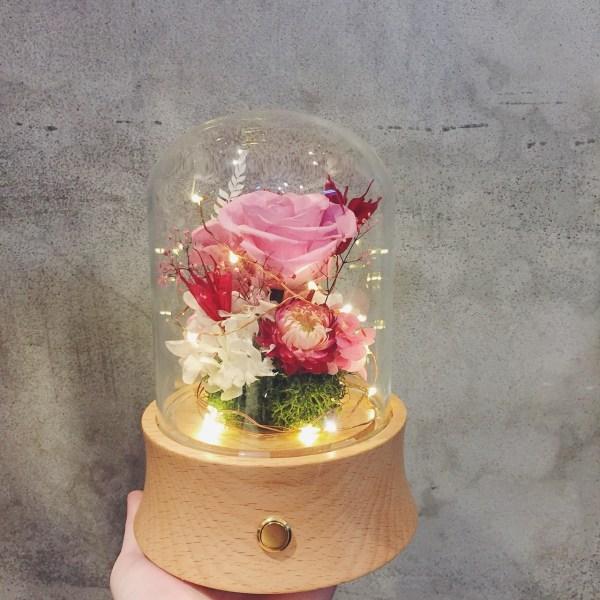 永生花玻璃盅罩藍芽音響-粉色長型