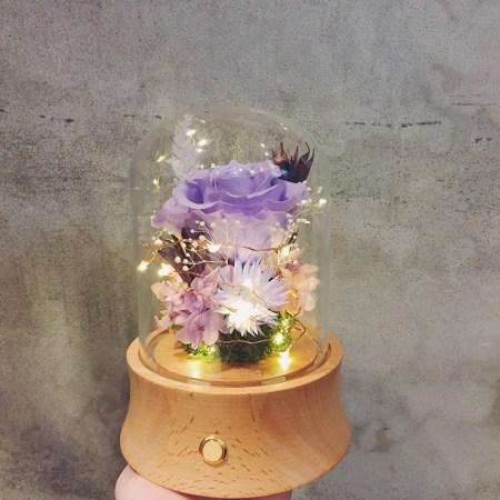 藍芽音響玻璃盅罩,粉色長型永生花玻璃藍芽音響