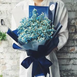 台北滿天星畢業花束,喜歡生活乾燥花店,藍色畢業花束