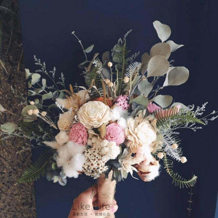 韓式長型手綁乾燥捧花-自然白