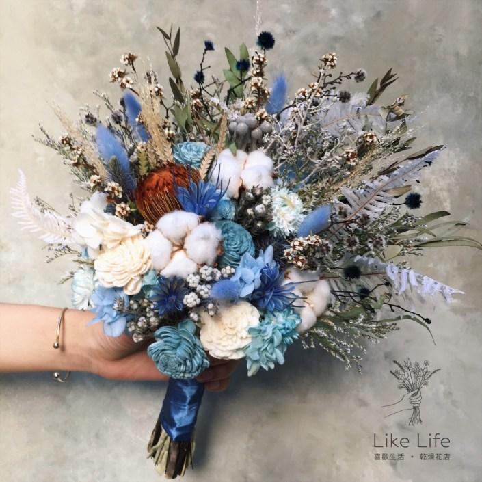 韓式扇型手綁乾燥捧花-不凋叢林藍