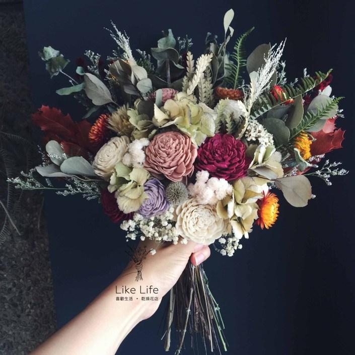 韓式長型手綁乾燥捧花-自然叢林紅