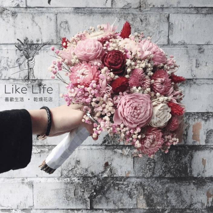 歐式圓形乾燥捧花-自然星球粉色系