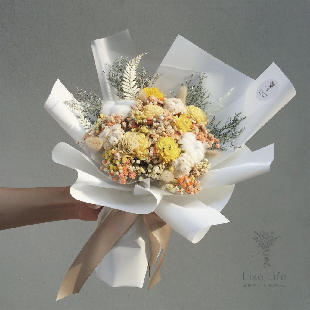 情人節花束白色封面,白色乾燥花束,情人節花束