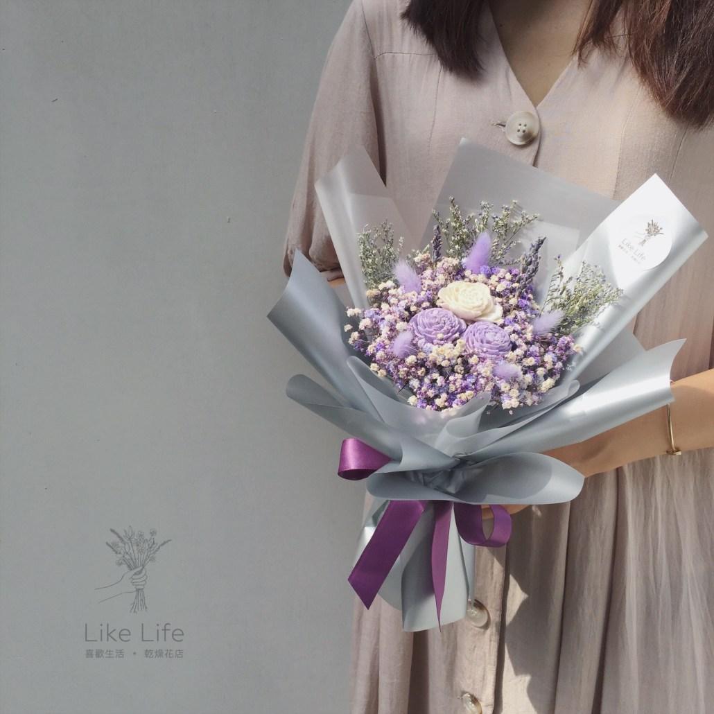 韓式包裝乾燥花束紫色手拿,韓式乾燥花束包裝