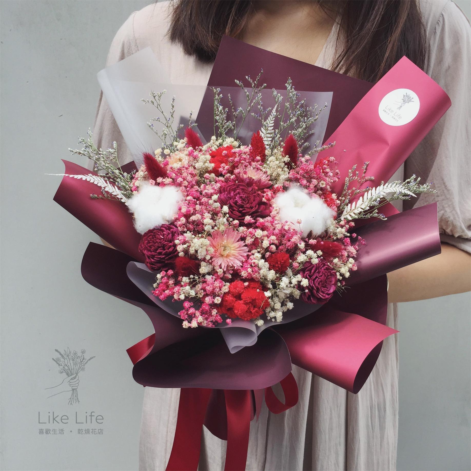 情人節乾燥花束紅色封面